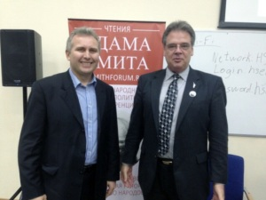 "Pictured: Executive Director of the EPI Igor Suzdaltsev meeting with then-Chairman of the Libertarian Party Geoffrey Neale. The Executive Director of the Institute EPI Igor Suzdaltsev met in Moscow with the then- chairman of the National Committee of the Libertarian Party of Geoffrey Neale . Mr. Neal praised the publication of the scholarly scientific article, ""World history and the role of Russia in terms of classical libertarianism"", written by libertarian theorist and LP member Kevin Bjørnson, in the EPI scientific journal ""Modern Scientific Thought"" (2013 , № 4 , pp. 27-34 )"